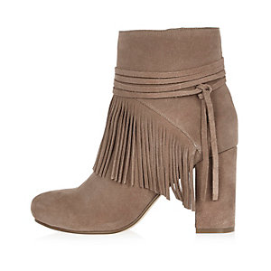 Sand brown suede fringed ankle boots