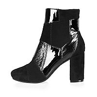 Black patchwork heeled ankle boots