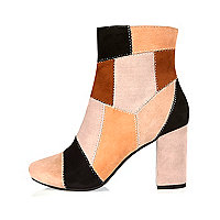 Brown patchwork heeled ankle boots
