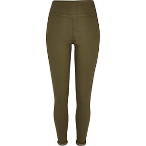 Khaki green denim high waisted leggings