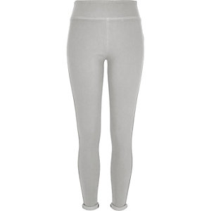 Light grey high waisted denim leggings