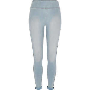 Light blue high waisted denim leggings