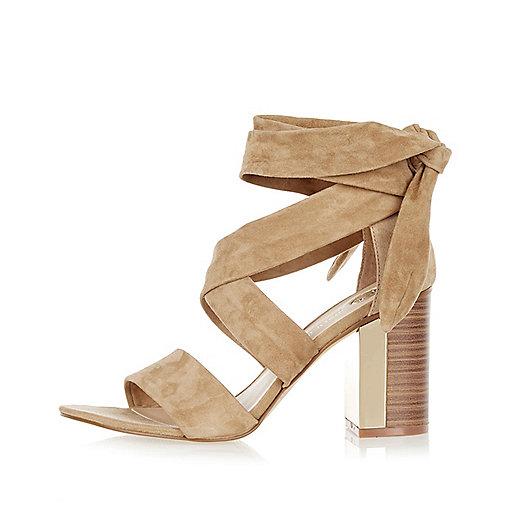 Camel suede wrap block mid heel sandals