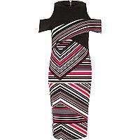 Pink stripe scuba bodycon dress