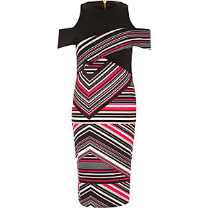 Pink stripe scuba bodycon dress