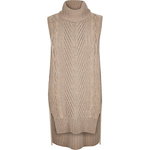 Beige knitted sleeveless sweater