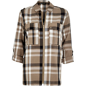 Beige checked zip-up shirt