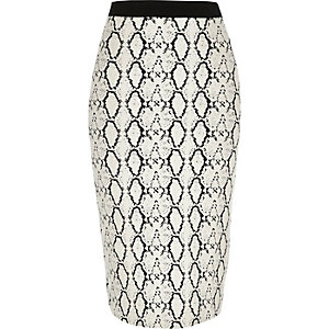 Cream snake print jersey pencil skirt