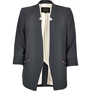 Grey inverse collar blazer