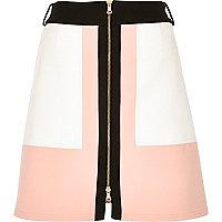 Pink block panel A-line skirt