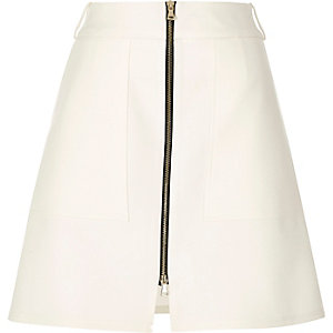 Cream zip-up A-line skirt