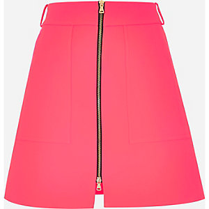 Pink zip-up A-line skirt