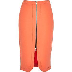Coral orange zip front pencil skirt