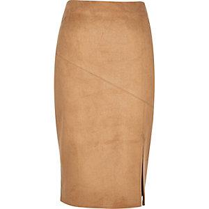 Tan faux suede split pencil skirt