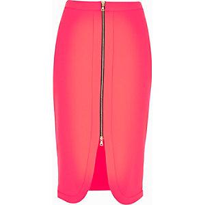 Fluro pink zip front pencil skirt