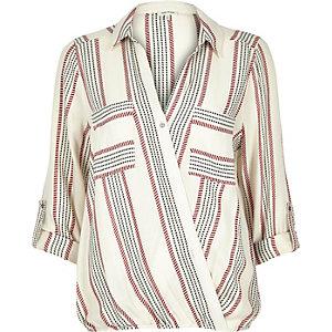 Red stripe wrap blouse