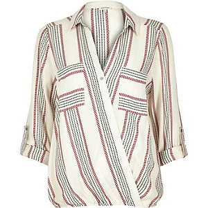 Red stripe wrap blouse