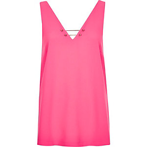 Pink bar V-neck top