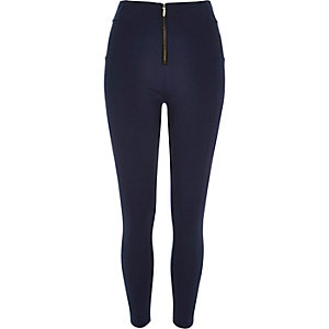 Navy zip up leggings