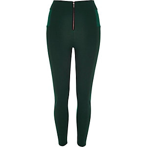 Dark green zip up leggings