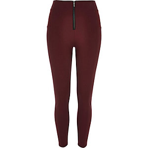 Oxblood zip up leggings