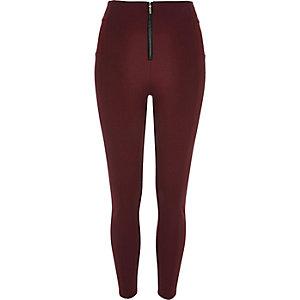 Oxblood zip up leggings