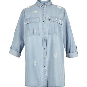 RI Plus light denim distressed shirt