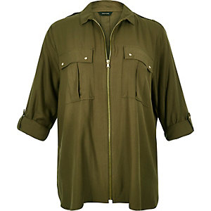 RI Plus khaki zip-up shirt