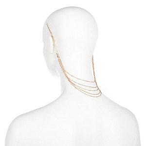 Gold tone chain hair harness