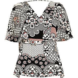 Black floral print cape back top