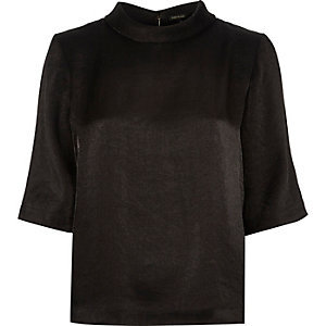 Black metallic high neck t-shirt