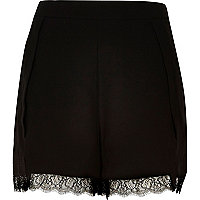 Black lace trim smart shorts