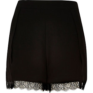 Black lace trim smart shorts