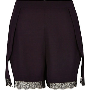 Dark purple lace trim smart shorts