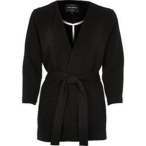 Black belted jersey jacket