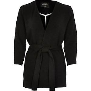 Black belted jersey jacket