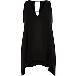 Black V-neck hanky hem sleeveless top