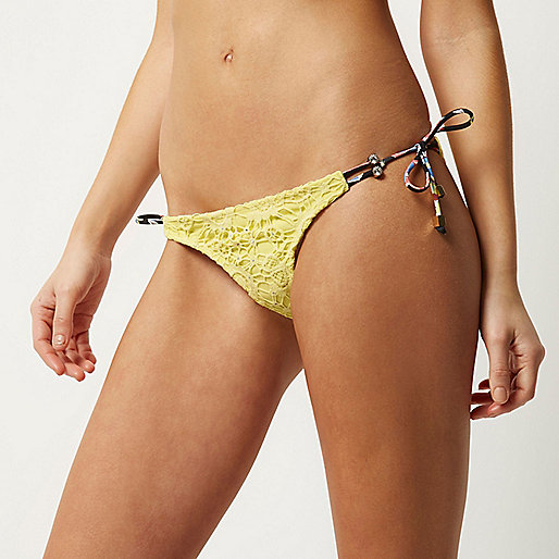 Yellow lace side tie bikini bottoms