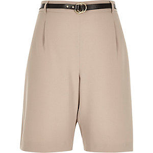 Beige smart belted city shorts