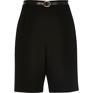 Black smart belted city shorts