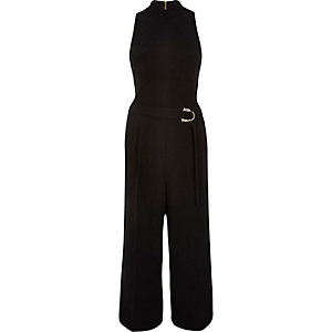 Black smart D-ring culotte jumpsuit