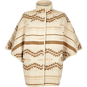 Beige geometric pattern wool-blend cape