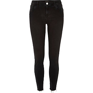 Black washed raw hem Amelie superskinny jeans