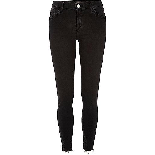 Black washed raw hem Amelie superskinny jeans
