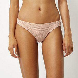 Pink lace crochet bikini bottoms