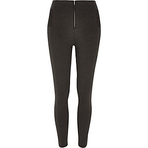 Grey marl zip up leggings