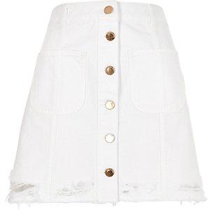 White button-up A-line denim skirt