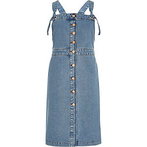 Blue denim button-up pinafore dress