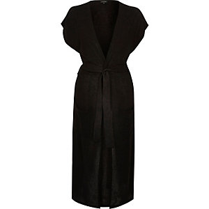Black knitted belted longline cardigan