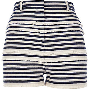 Navy stripe fringed high waisted shorts
